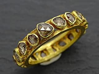 rose cut diamond ring gold eternity ring diamond wedding ring 18k gold, salt and pepper diamond gold ring, anniversary gift for her