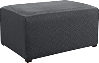 CHUN YI Stretch Rhombus Jacquard Universal Ottoman Cover,Easy Fitted Oversized Storage Ottoman Covers Slipcover,High Elasticity Furniture Protector (Gray)