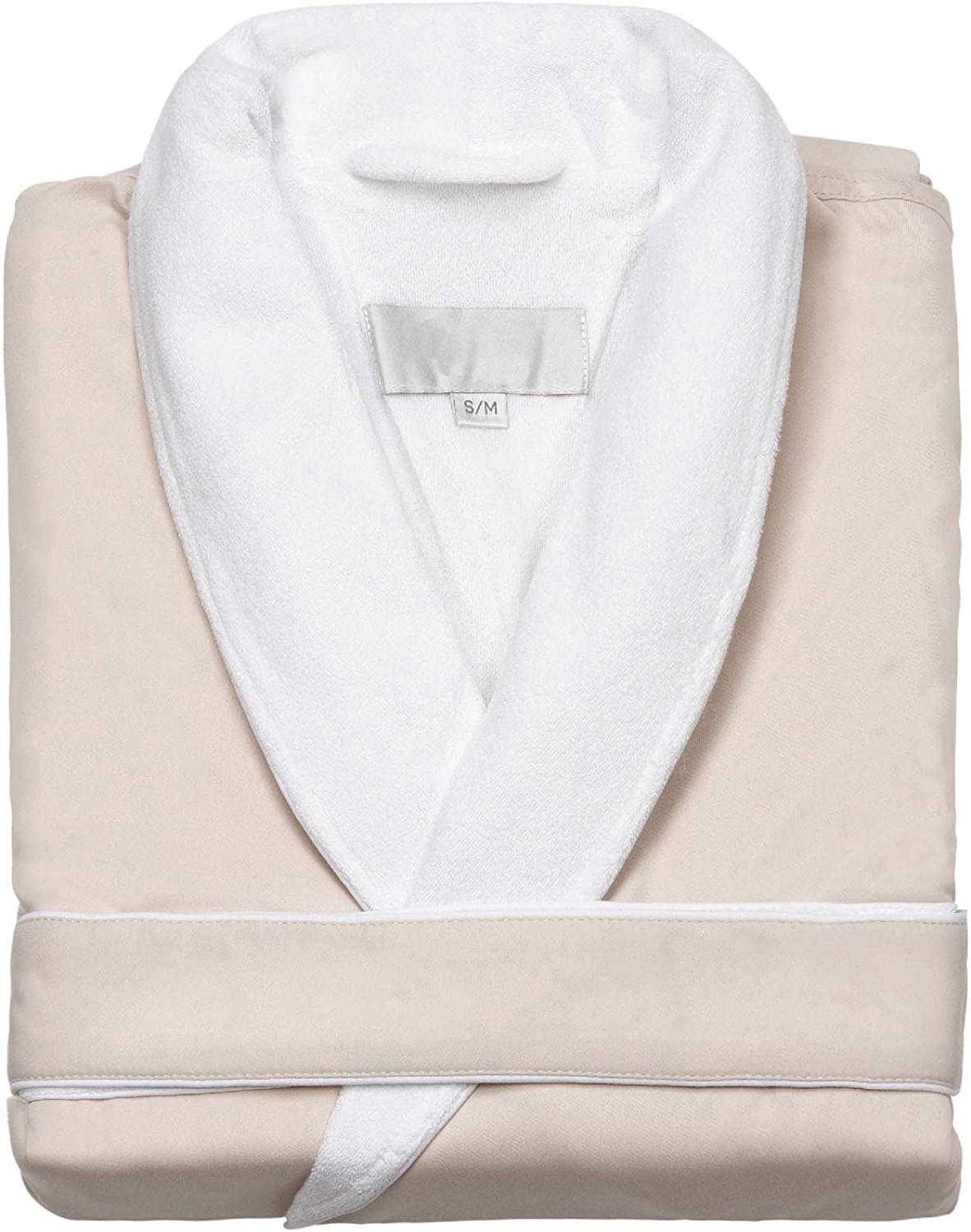 Home Spa Microfiber Velour Lined Bath Robe  Unisex Large Robe, Cream