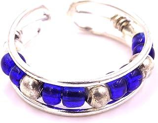 Anello di supporto alluce Bijoux India, anello in metallo regolabile, colore: argentato, regolabile, con perline, colore: blu