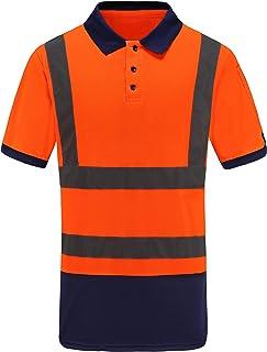 Hi Viz Polo Shirt Safety Short Sleeve Hi Visibility Wrok-wear with a Sleeve Pocket