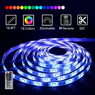 Led Strip Lights 16.4 Feet with 44 Keys RF Remote and 12V Power Supply Flexible Color Changing 5050 RGB 150 LEDs Waterproof Light Strips Kit for Home, Bedroom, Kitchen,DIY Decoration