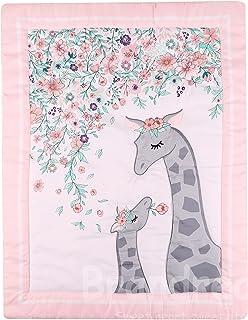 Brandream Baby Comforter Quilt Giraffe Family Print Newborn Infant Nursery Comforter with Floral,Grey White Crib Quilt 1 Pack