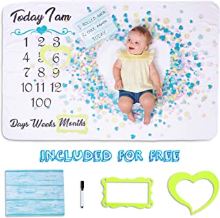 Monthly Baby Milestone Blanket Boy or Girl – Extra Soft, Flannel Fleece Baby Monthly Milestone Blanket for 1st Year Days/Weeks/Months and 100-Day Birthdays with Message Board, Heart and Frame Props!