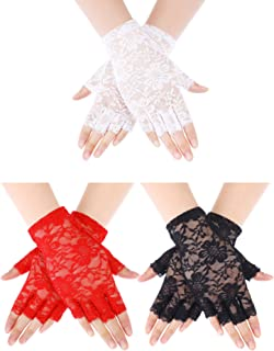 Skylety 3 Pieces Wrist Length Lace Gloves Sun Protection Gloves Half Finger Gloves 50s Party Lace Gloves for Women Girls C...