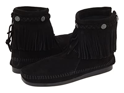 Minnetonka Hi-Top Back Zip Boot (Black Suede) Women