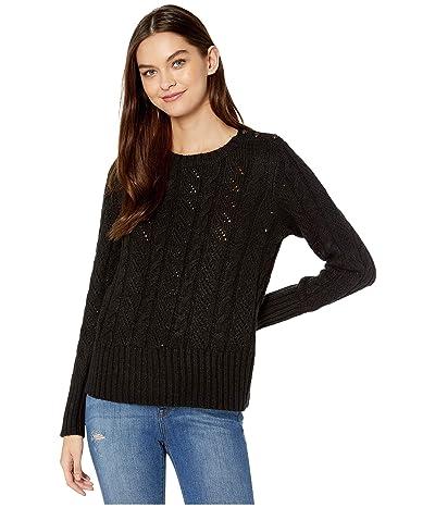 kensie Punk Yarn Sweater with Shoulder Button Detail KSNK5942 (Black) Women
