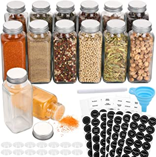 Aozita 14 Pcs Glass Spice Jars with Spice Labels - 8oz Empty Square Spice Bottles - Shaker Lids and Airtight Metal Caps - ...