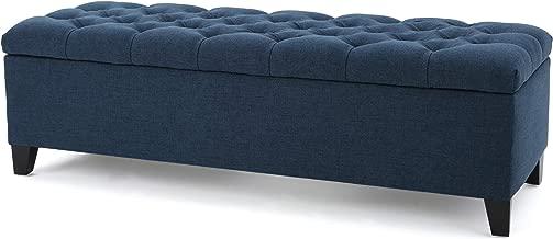 Christopher Knight Home Living Vassar Dark Blue Fabric Storage Ottoman, 17.75D x 51.50W x 15.75H