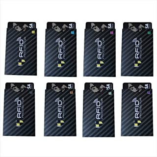 Garfoniex Set of 8 RFID Blocking Sleeves   8 Credit Card Protector Holders   Identity Theft Protection Secure Sleeves for ...