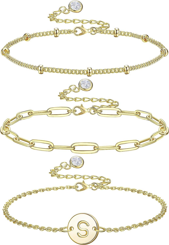 HAIAISO Dainty Initial Bracelets for Women, 14K Gold Plated Laye