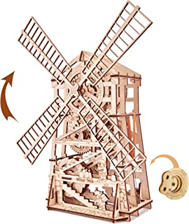 Wood Trick Mechanical Windmill Toy with Clockwork Mechanism - Wooden Windmill Kit to Build - 3D Wooden Puzzle - STEM Toys for Boys and Girls