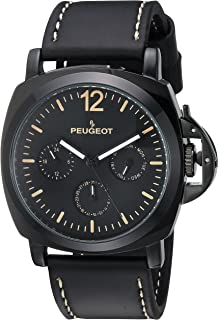 Men's All Black Multi-Function Analog-Quartz Sport Watch with Leather Calfskin Strap, 25 (Model: 2056BK)