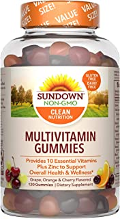 Adult Multivitamin Gummies by Sundown, Dietary Supplement with Vitamin D, C and Zinc for Immune Support, Non-GMO, Free of ...