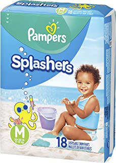 Swim Diapers Size 4 (20-33 lb), 18 Count - Pampers Splashers Disposable Swim Pants, Medium