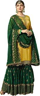 Infamiss Women's Georgette with Embroidery and Stone Work Sharara Salwar Suit (Green, Free Size)