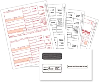 2019 1099 INT 4 Part Tax Forms Kit, 50 Laser Form Bundle for Interest Income, Designed for QuickBooks and Accounting Software, 50 Self Seal Envelopes Included