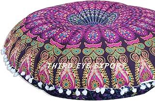 Third Eye Export - 32 in Mandala Barmeri Large Round Floor Pillow Cover Cushion Meditation Seating Ottoman Throw Cover Hippie Decorative Zipped Bohemian Pouf (Purple)