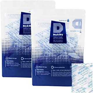 Dry & Dry 5 Gram [120 Packets] Premium Pure & Safe Silica Gel Packets Desiccant Dehumidifiers - Rechargeable Fabric Silica Packets for Moisture