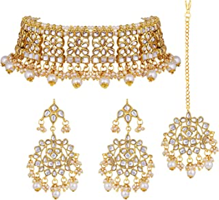 Aheli Elegant Indian Wedding Wear Faux Kundan Studded Choker Necklace with Maang Tikka Set Ethnic Fashion Jewelry for Women