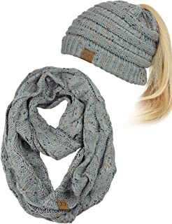 C.C Colorful Confetti BeanieTail Messy High Bun Cable Knit Beanie and Infinity Loop Scarf Set
