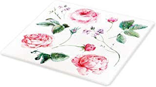 Lunarable Flower Cutting Board, Shabby Form Vintage Style Watercolor Roses Branches Wildflowers Hand Print Image, Decorative Tempered Glass Cutting and Serving Board, Small Size, Green Pink