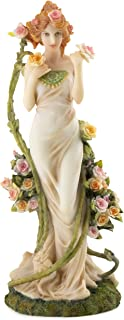 Top Collection Alphonse Mucha Statue Collection - Hand Painted Art Nouveau Rose Women Decorative Sculpture -10.5-Inch Collectible Figurine