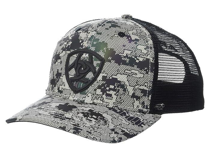 Ariat   Shield Logo Digital Camo Snapback Cap (Grey/Black Camo) Caps