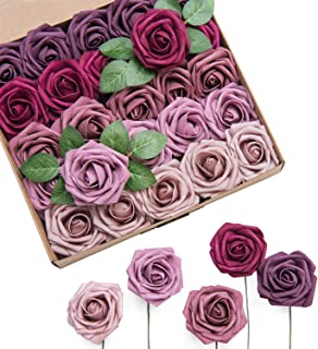 Ling's moment Roses Artificial Flowers Ombre Colors 25pcs Realistic Mauve Berry Fake Roses with Stem for DIY Rustic Fall Wedding Bouquets Centerpieces Decorations