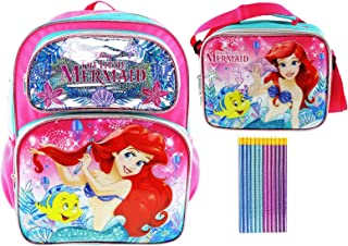 Princess Ariel Deluxe 3D Backpack and Lunch Tote PLUS 12 Pack of Mermaid Pencils