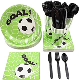 Juvale Soccer Party Supplies – Serves 24 – Includes Plates, Knives, Spoons, Forks, Cups and Napkins. Perfect Soccer Birthday Party Pack for Kids Soccer Themed Parties.