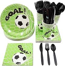 Juvale Soccer Party Supplies, Disposable Dinnerware Set (Serves 24, 144 Pieces)