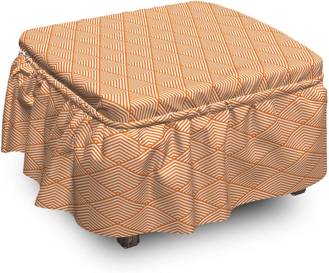 Lunarable Abstract Ottoman El Paso Mall Cover Modern 2 in famous Stripes Monotone