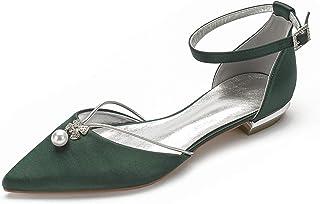 MarHermoso Womens Ankle Strap Pointed Toe Elegant Wedding Ballerinas