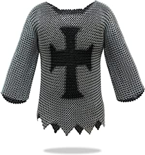 Medieval Templar Chainmail Shirt w/Full Sleeves Solid Iron Haubergeon Armor - One Size Silver, Fits Most
