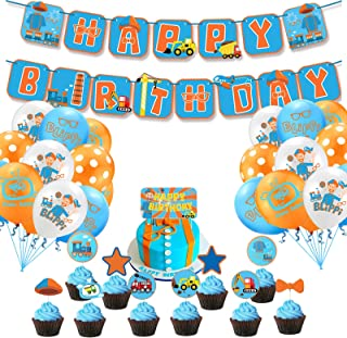 Blippi Birthday Party Supplies for Boy Girl Birthday Decorations-Blippi Happy Birthday Banner Cake Toppers Cutouts Balloon...