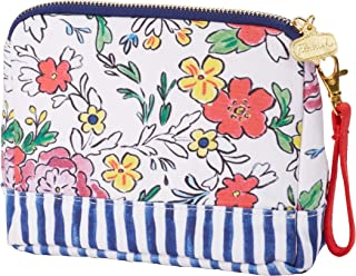 "C.R. Gibson White Floral Clutch With Removable Red Wrist Strap, 7"" W X 5"" H X 2"" D"