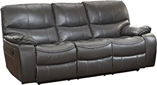 Homelegance Pecos Leather Gel Power Double Reclining Sofa, Gray