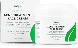 Acne Treatment Cream - Benzoyl Peroxide 5% - (2 oz) Topical Anti Pimple Medication for Cystic Acne Spot Treatment - Tea Tree Oil for Acne with Witch Hazel, Jojoba Oil, Almond Oil, and Shea Butter