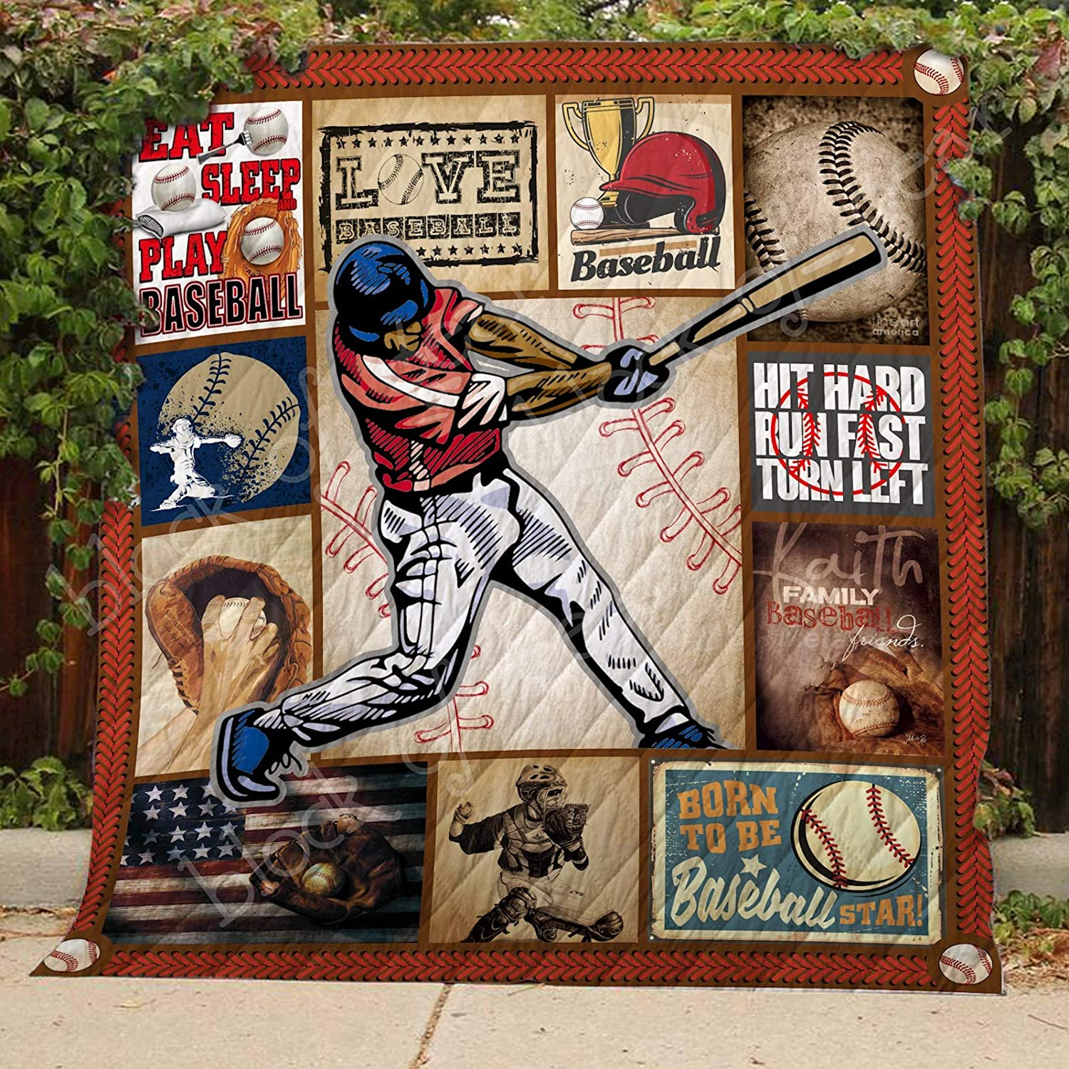 Born to be Baseball Star Quilt TH568, Queen All-Season Quilts Comforters with Reversible Cotton King Queen Twin Size - Best Decorative Quilts-Unique Quilted for Gifts