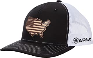 ARIAT Men's Black USA Country Leather Patch Mesh Cap