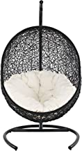 Modway EEI-739 Encase Wicker Rattan Outdoor Patio Balcony Porch Lounge Egg Swing Chair Set with Stand White