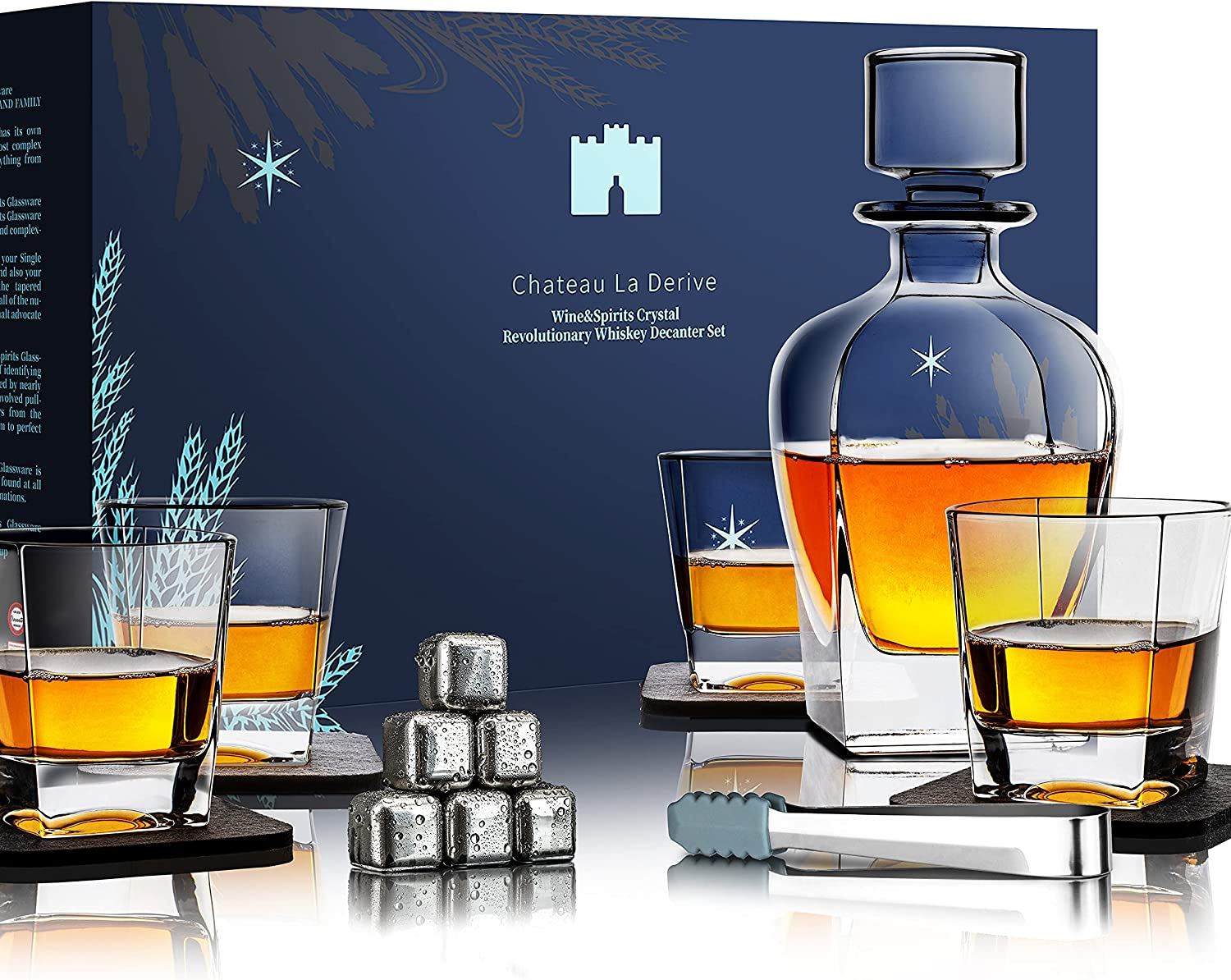Whiskey Excellence Decanter Set 7 Piece Premium Popular overseas Gl Crystal 4 with Decanters