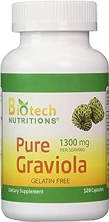 Biotech Nutritions Graviola 100% Pure Graviola 1300mg Per Servings 120 Capsules Per Bottle (Annona muricata)