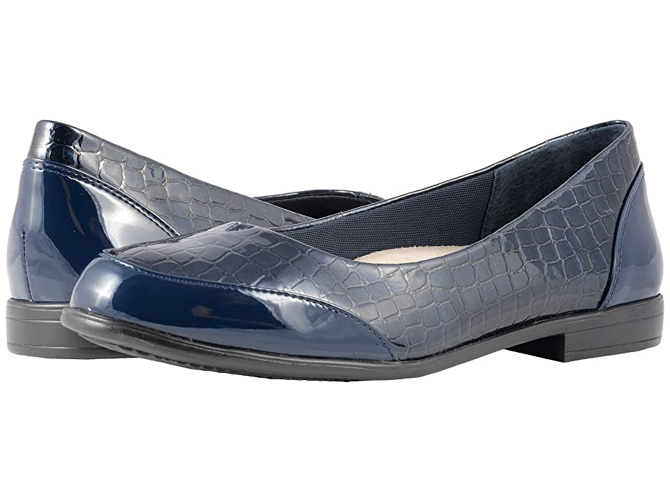 Trotters Arnello (Navy Croco Stamp/Patent) Women