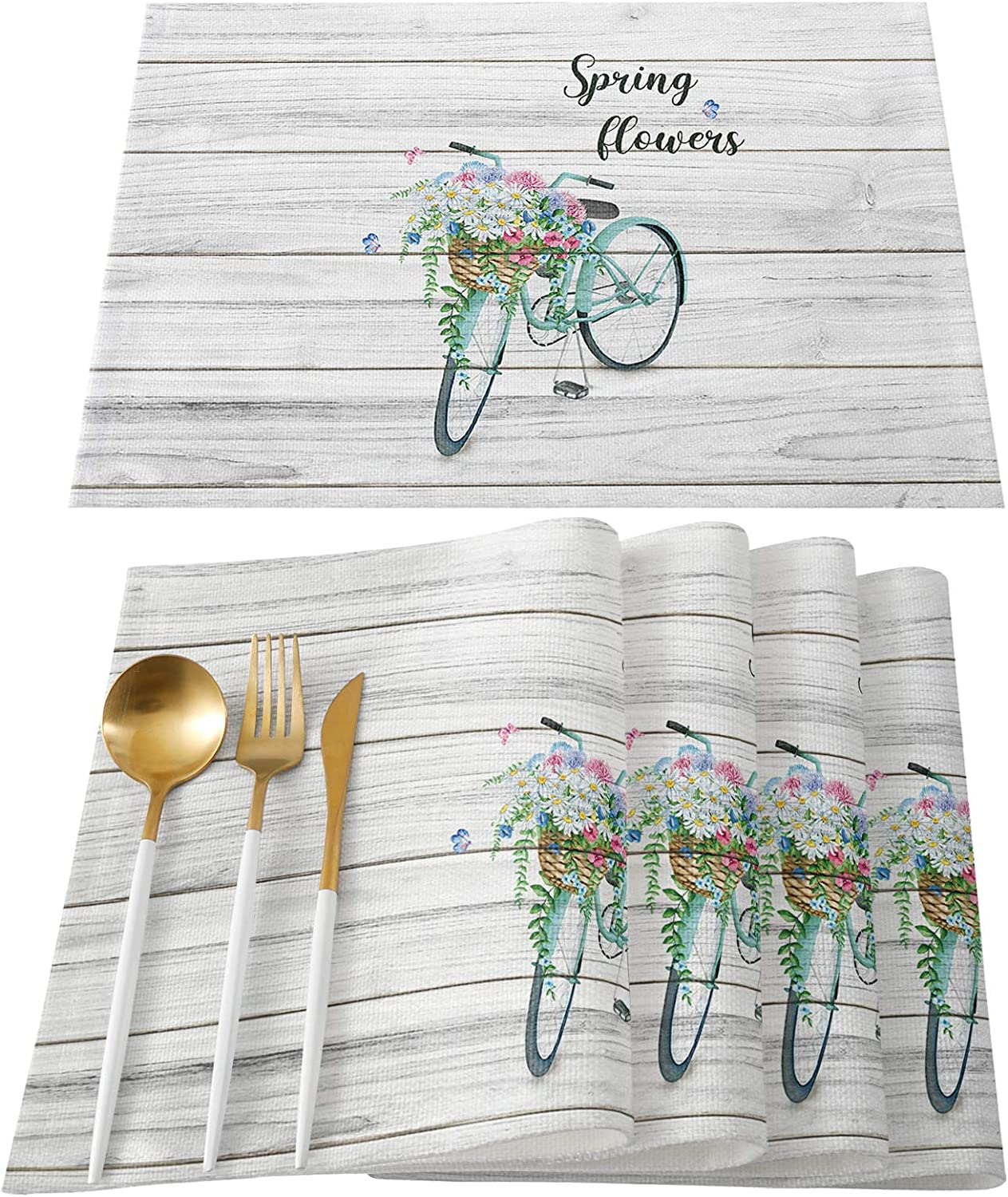 FAMILYDECOR store Placemats for Kitchen Dining Table Genuine M Place Set of 6