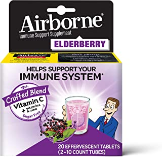 Vitamin C 1000mg (per Serving) - Airborne Elderberry Effervescent Tablets (20 Count in a Box), Gluten-Free Immune Support Supplement and High in Antioxidants