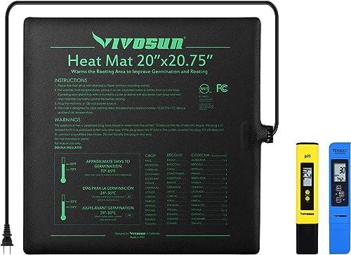 "discount VIVOSUN Durable Waterproof Seedling popular Heat Mat Warm Hydroponic Heating Pad 20"" x 20"" MET Standard, pH and TDS Meter wholesale Combo sale"