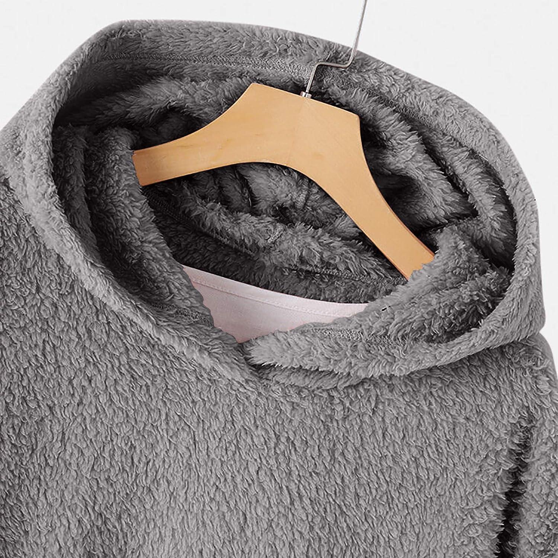 Briskorry Damen Plüschjacke Hoodie Fleece Pullover, Lose Sweatshirt Einfarbig Mantel mit Katze Motive Bauch Warme Hände Tasche C