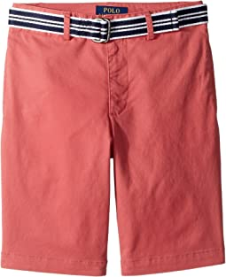 Slim Fit Belted Stretch Shorts (Big Kids)